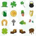 Irish patrick day colorful cartoon icons set Royalty Free Stock Photo