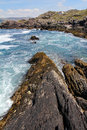 Irish ring of kerry coast with waves in the coastal road ireland Royalty Free Stock Images