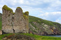 Irish ruins a landscape in ireland with of an acient tower house Royalty Free Stock Photo