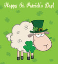 Irish sheep carrying a clover in its mouth under text happy st patrick s day cartoon character Stock Photos