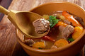 Irish stew farm style with tender lamb meat potatoes and vegetables Royalty Free Stock Images