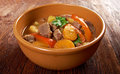 Irish stew with tender lamb meat farm style potatoes and vegetables Stock Photography