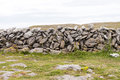 Irish stonewall rocks forming a between fields in ireland county claire Royalty Free Stock Photography