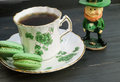 Irish tea with leprechaun Royalty Free Stock Photo