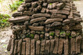 Irish turf a stack of other wise know as peat Stock Photo