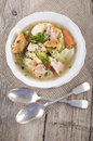 Irish wild salmon stew in a bowl white Stock Images