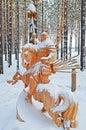 Irkutsk Region,Russia-Jan, 03 2015: Hercules on horseback. Park of wooden sculptures in Savvateevka Village Royalty Free Stock Photo