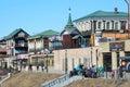 Irkutsk, Russia, March, 17, 2017. People walking in old styled 130-th quarter in Irkutsk