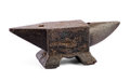 Iron anvil for forging metal in a smithy or forge by striking heated with a hammer to reshape it on white Royalty Free Stock Photos