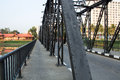 Iron bridge on cement pillars big Stock Photography