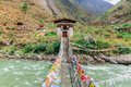 Iron Bridge of Tamchog Lhakhang Monastery, Paro River, Bhutan.