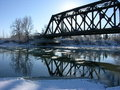 Iron bridge in winter Royalty Free Stock Photos