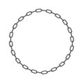 Iron chain. Circle frame of rings of chain. Vector illustration