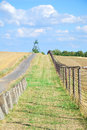 Iron curtain and watchtower with patrol road in former czechoslo czechoslovakia central europe Royalty Free Stock Photography