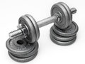 Iron dumbbell with extra weight Stock Photography