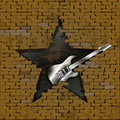 Iron electric guitar in breach of a brick wall Royalty Free Stock Photo