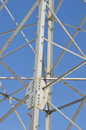 Iron electric pole in the sky steel frame of column against blue Royalty Free Stock Images