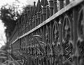 Iron fence an old runs along a lane in chappell hill texas Stock Images