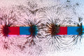 Iron filings on the magnetic field on a magnet Royalty Free Stock Photo