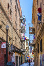 Iron fire escape is used for drying san francisco usa july clothes in chinatown on july in san francisco usa san francisco Royalty Free Stock Photos