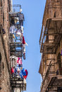Iron fire escape is used for drying san francisco usa july clothes in chinatown on july in san francisco usa san francisco Royalty Free Stock Photography