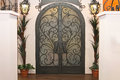 Iron gate doors decorative double with arch Stock Image