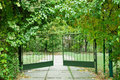 Iron gate in the garden Stock Photography