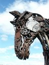 Iron horse mod metal sculpture of made from discarded metal tools and machinery parts Stock Photo