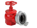 Iron hydrant valve with socket for connection of fire hose. Royalty Free Stock Photo