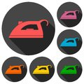 Iron icons set with long shadow Royalty Free Stock Photo