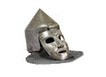 Iron mask ancient military knight helmet with chain mail on white background isolated with clipping path Stock Photo