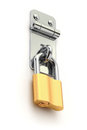 Iron metal latch with the padlock d illustration Royalty Free Stock Photo