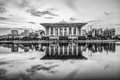 The iron mosque malaysia in black and white at dawn putrajaya Royalty Free Stock Image