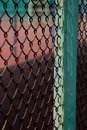 Iron net turquoise color pole Royalty Free Stock Photos