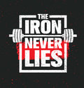 The Iron Never Lies. Workout and Fitness Gym Design Element Concept. Creative Sport Custom Vector Sign