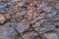 Iron ore texture close up - natural minerals in the mine. Stone texture of open pit. Extraction of minerals for heavy Royalty Free Stock Photo