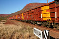 Iron Ore Train with Hundreds of Carriages Royalty Free Stock Photo