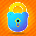 Iron padlock on a orange baclground Royalty Free Stock Images