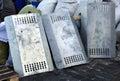 Iron police shields kiev kyiv ukraine february Royalty Free Stock Image