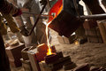 Iron pour competition between local colleges and universities Stock Photo
