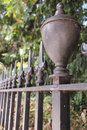 Iron railings bordering a london garden square in autumn with cobweb park Royalty Free Stock Images