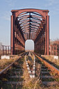 Iron railway bridge Royalty Free Stock Photo