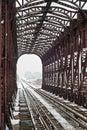 Iron railway bridge in winter Royalty Free Stock Photo