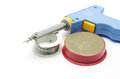 Iron soldering iron soldering wire equipment containing a gun and tin and brazing cream Stock Image