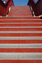 Iron stairs detail the upwards red metal to bridge Royalty Free Stock Photos
