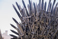 Iron throne made with swords, fantasy scene or stage. Recreation Royalty Free Stock Photo