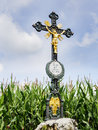 Iron wayside cross wrought with lettering praised be jesus christ in german language Royalty Free Stock Photos