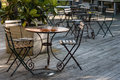 Iron wrought furniture in restaurant Royalty Free Stock Photo