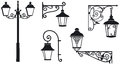 Iron wrought lanterns with decorative ornaments vector illustration Stock Images