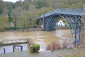 Ironbridge flooding the river severn floods at in shropshire january Stock Image